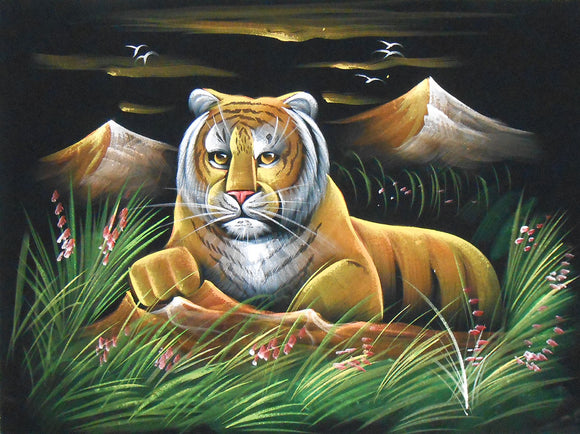 Tiger Awaiting for its Prey/Traditional Indian Painting Wall Décor on Velvet Fabric: Size - 19