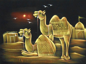 "Pair of Camels/Traditional Indian Painting Wall Décor on Velvet Fabric: Size - 19""x27"" Inches"