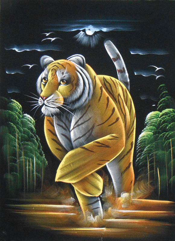 Tiger in Search of Prey/Animal Indian Oil Painting Wall Décor on Velvet Fabric: Size - 19