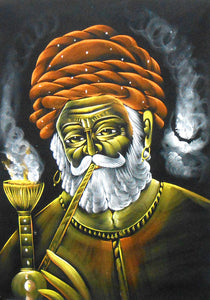 "Rajasthani Man Enjoying Hookah/Indian Painting Wall Décor on Velvet Fabric: Size - 19""x27"" Inches"