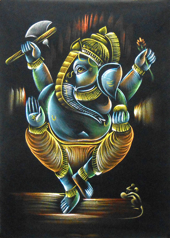 Dancing Ganesha/Spiritual Indian God Painting Wall Décor on Velvet Fabric: Size - 19