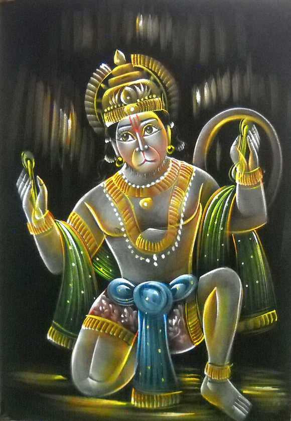 Lord Hanuman Singing Hymns of Lord Rama and Sita/Indian Hindu God Painting Wall Décor on Velvet Fabric: Size - 20