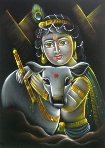 "Bal Krishna with Cow/Indian Hindu God Painting Wall Décor on Velvet Fabric: Size - 20""x28"" Inches"