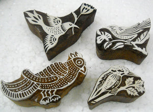 Pack of Four Birds Shaped wooden block stamps/ Tattoo/ Indian Textile Printing Blocks