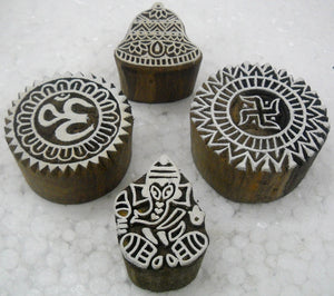 Pack of Four : Aum, Swastik, Christmas Bell and Ganesha wooden block stamps/ Tattoo/ Indian Textile Printing Blocks