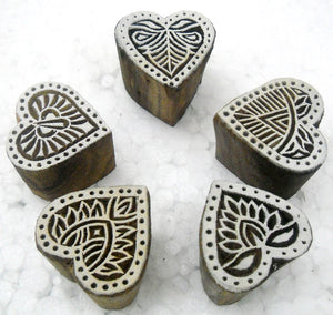 Wholesale Pack of Five Heart Shaped wooden block stamps/ Tattoo/ Indian Textile Printing Blocks