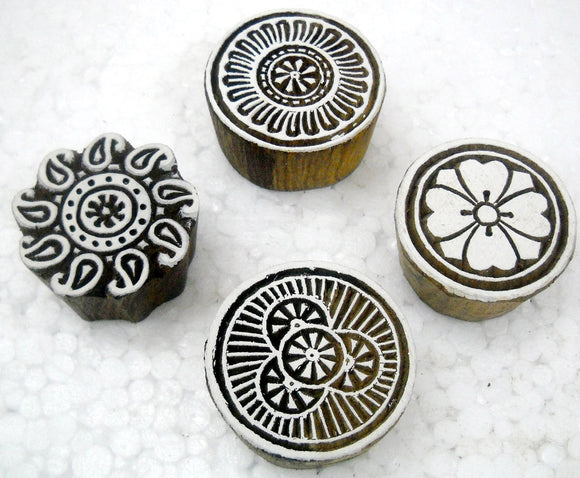 Pack of Four : Round Shaped wooden block stamps/ Tattoo/ Indian Textile Printing Blocks
