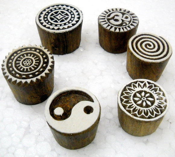 Wholesale Pack of Six Round Shaped wooden block stamps/ Tattoo/ Indian Textile Printing Blocks