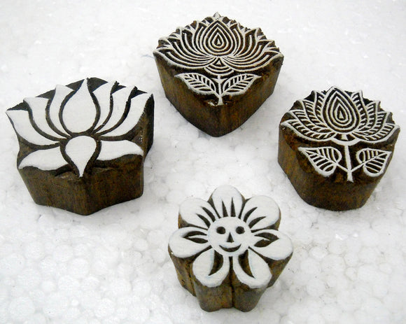 Pack of Four Flowers Shaped Wooden Block Stamps/Tattoo/Indian Textile Printing Blocks