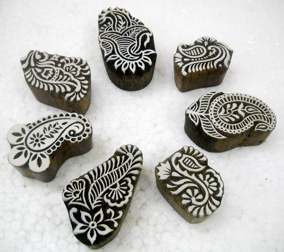 Wholesale Pack of Seven Paisley Design Wooden Block Stamps/Tattoo/Indian Textile Printing Blocks