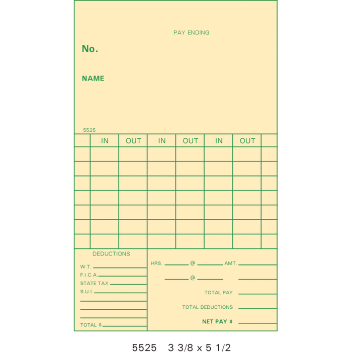 00117 Time Cards (Pack of 1000's)
