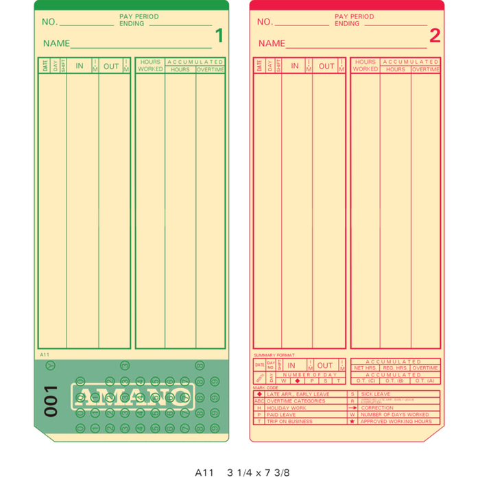 A11P Time Cards 000-249 (Pack of 1000s', 4 sets of 250)