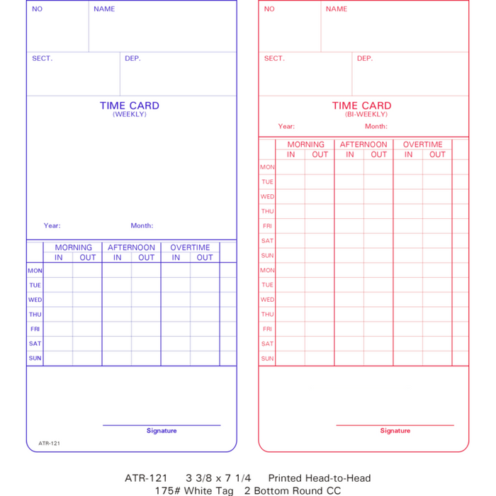 ATR-121 Time Cards (Pack of 1000's)