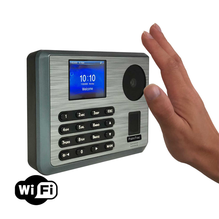 HandTrac 200 Wifi | Biometric Hand, fingerprint, proximity clocking in machine | Vacation, sickness, email time card feature | Std + 3 overtime rates | Reliable and accurate |  1 Year warranty | No subscriptions | Order RFID tag/badges in Accessories
