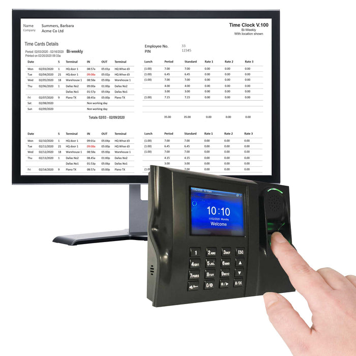 Calculating Time Clock Biometric fingerprint