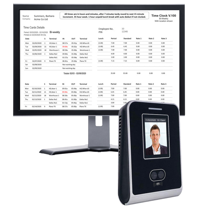 Time Recorder | Geoface 100 | Non-Contact Facial Recognition. FREE Payroll Export, FREE Live Attendance dashboards. 12 months FREE support. NO SUBSCRIPTIONS NEEDED.