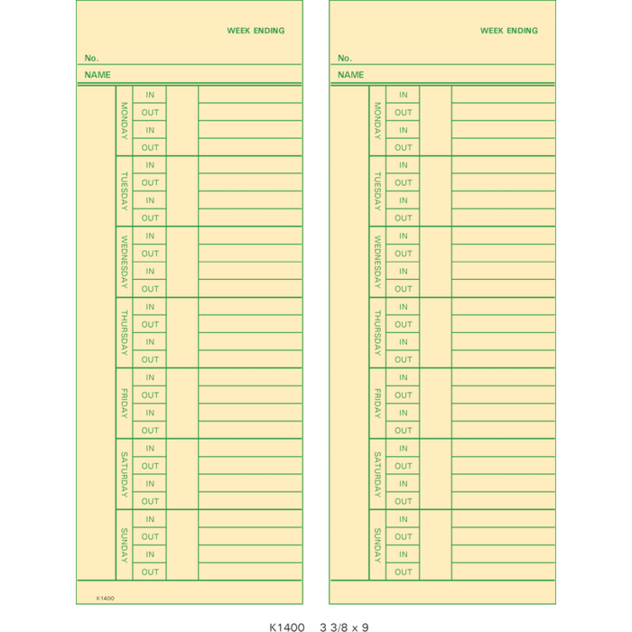 K1400-2 Time Cards (Pack of 1000's)