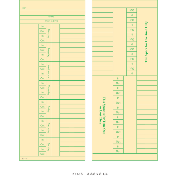 9664A Time Cards (Pack of 1000's)