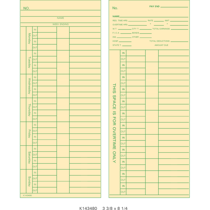 K143480 Time Cards (Pack of 1000's)
