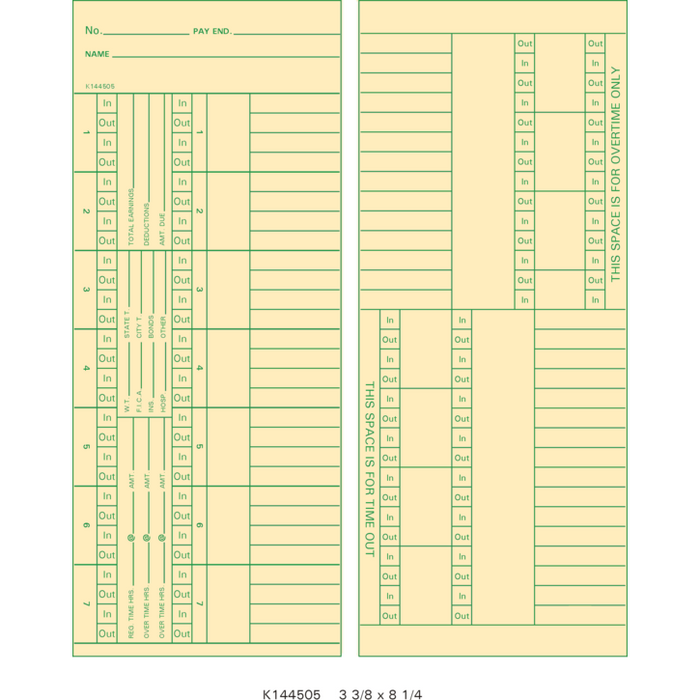 K144505 Time Cards (Pack of 1000's)