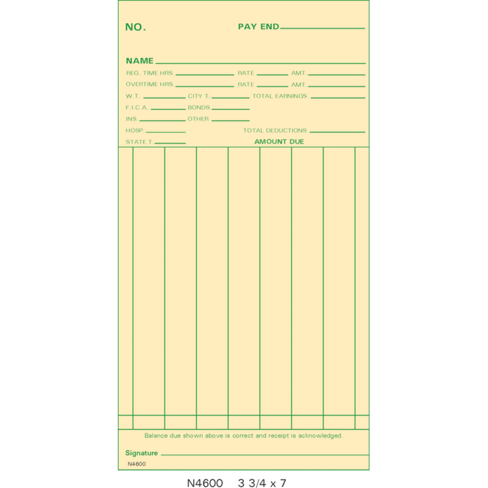 N4600 Time Cards (Pack of 1000's)