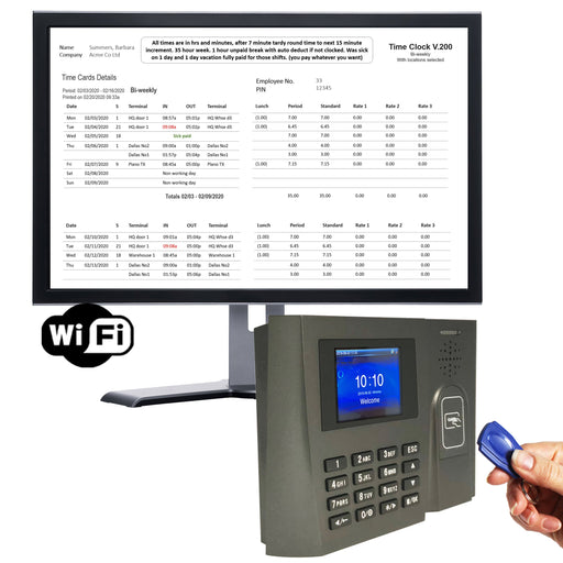 Proximity Time Clock using RFID tags with WIFI Non-Contact