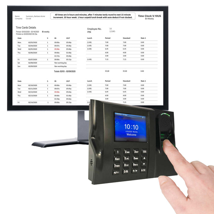 Time Clock Biometric Fingerprint TCP-IP Adds up hours worked