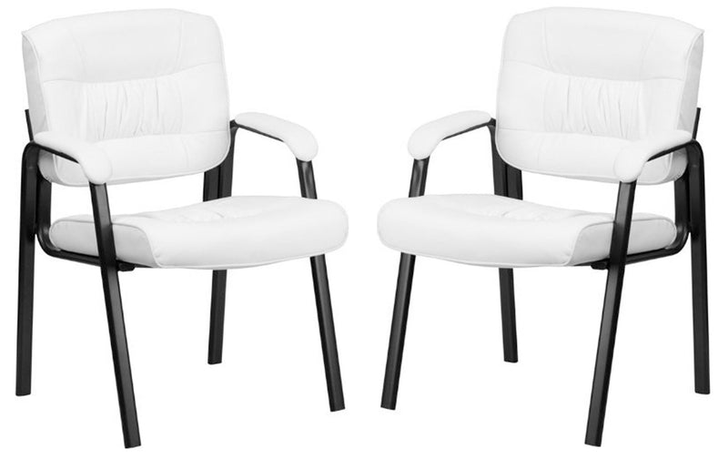 Leatherette visitor Chair with cushion on metal arm set of 2