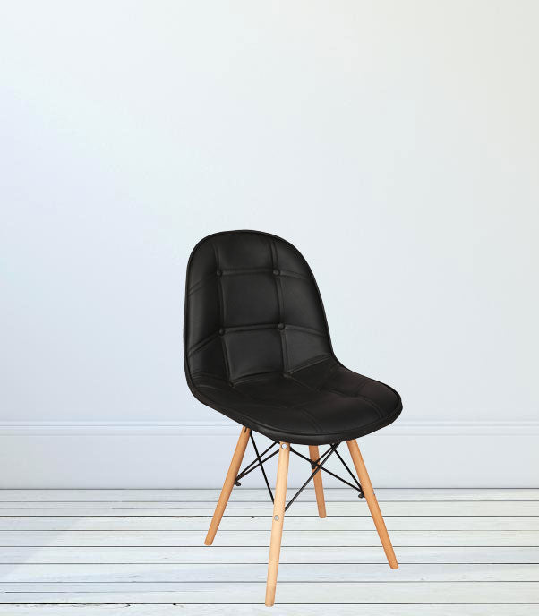 Leatherette cafe chair with wooden frame
