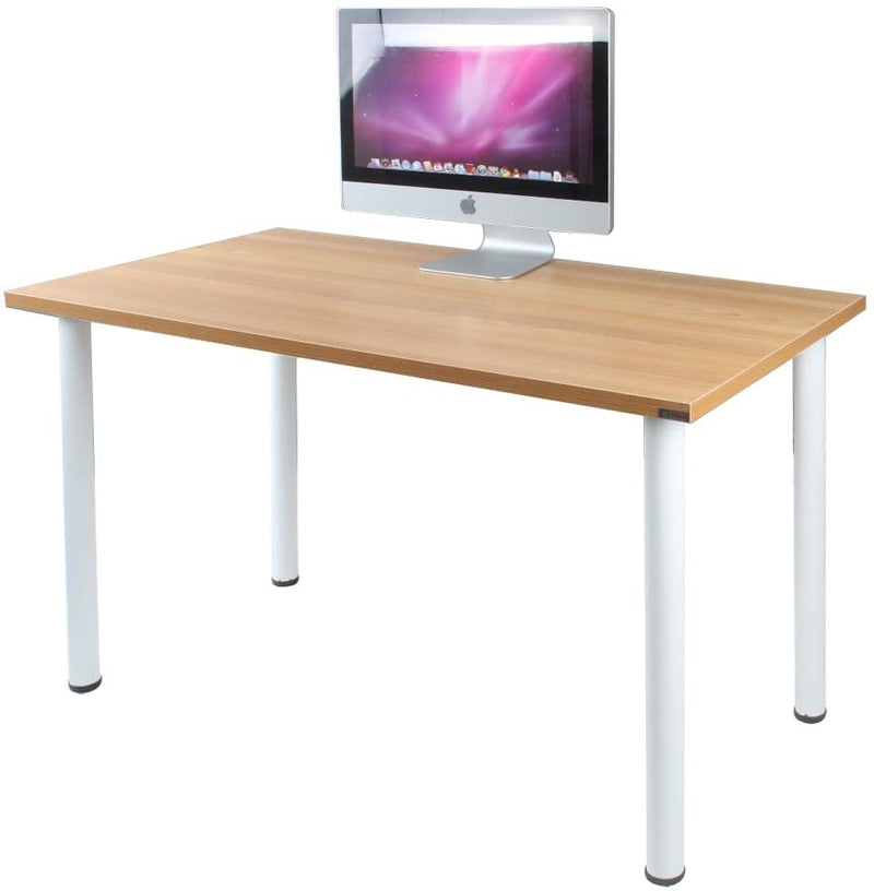 Office desk and study table 18 mm  thick plb board with metal frame with powder coated metal light maple