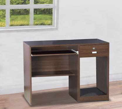 Office desk and study table 18 mm thick plb board modesty and with cpu trolley box with key board tray  dark brown