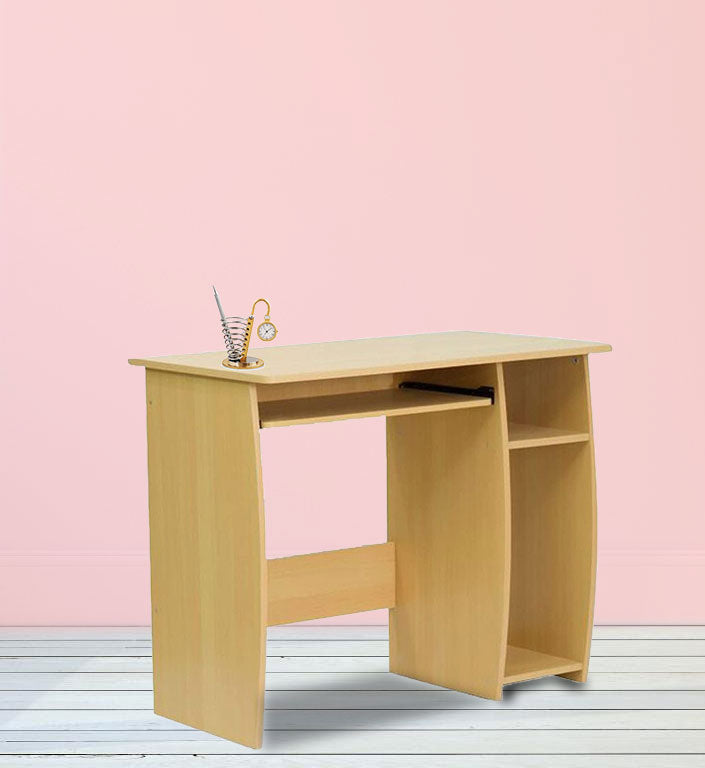 Office desk and study table  one side cpu trolley box and  18 mm thick plb board modesty with key board tray. light maple