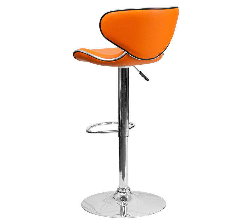 Leatherette bar stool with metal frame and chrome finish