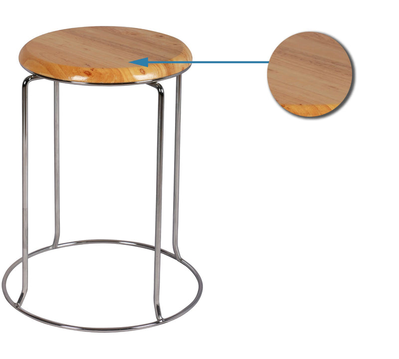 Wooden bar stool with chrome base