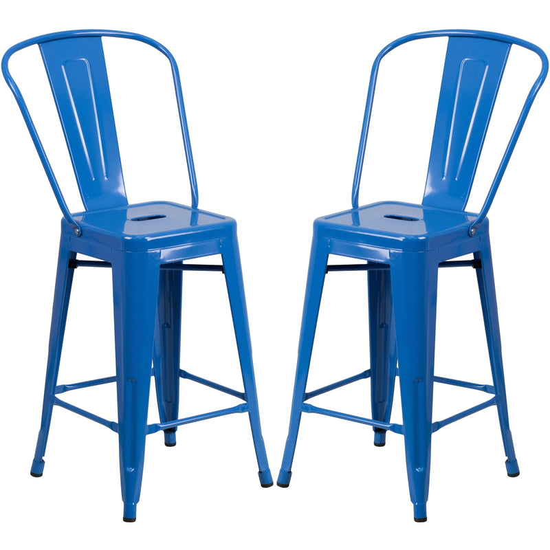 Metal base barstool with metal frame