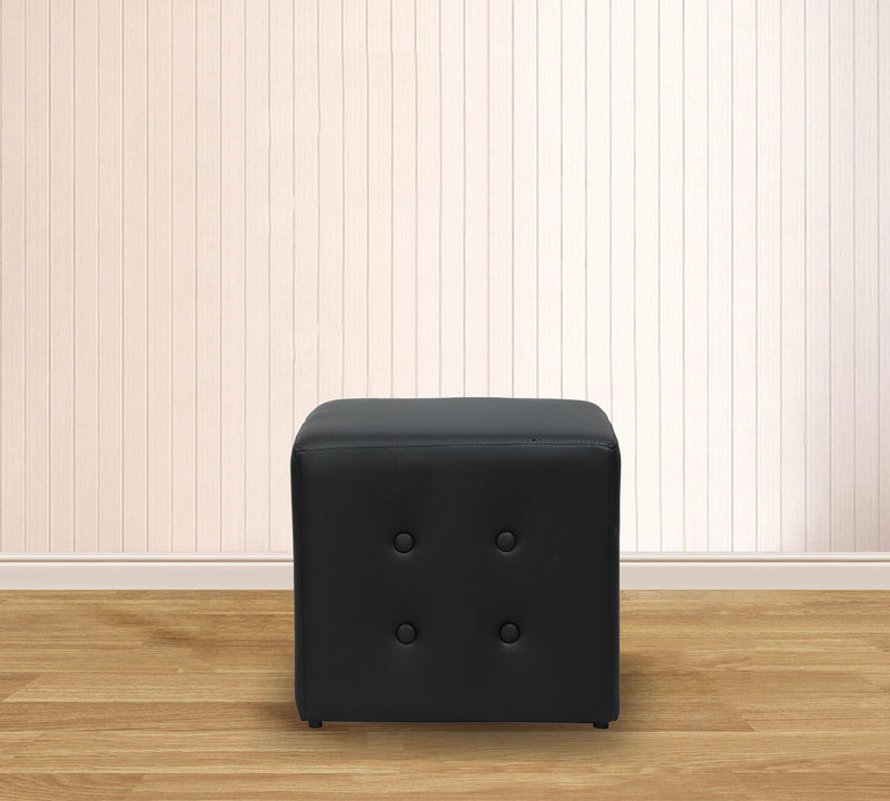 Fully Cushioned Leatherette Pouffe with Wooden Legs