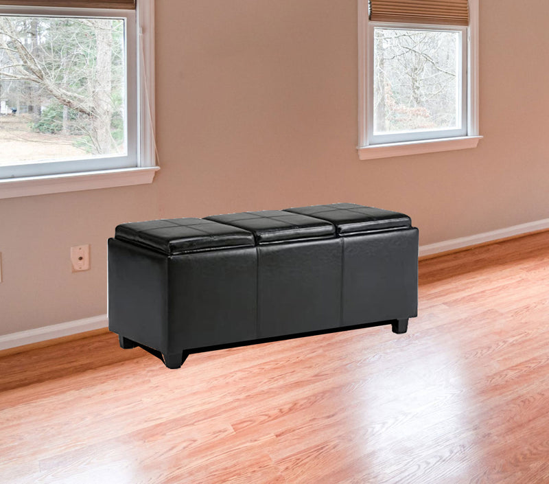 Fully cushioned cotton fabric ottoman