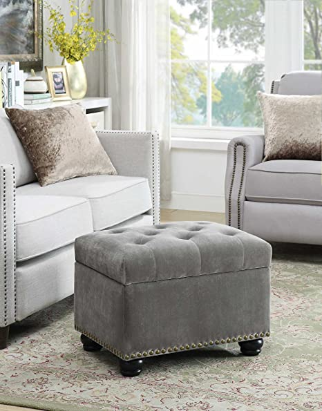 Fully cushioned suede finish ottoman