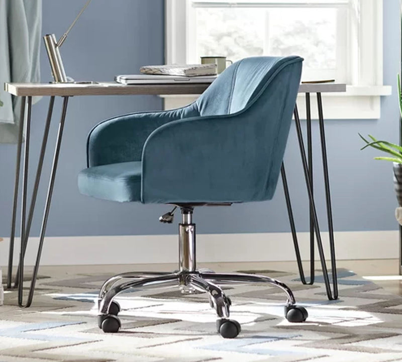 Fully Cushioned Suede Velvet Lounge Chair with Chrome Base
