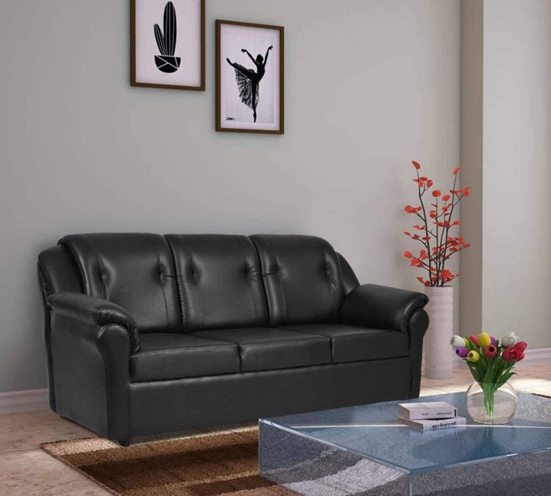 Fully cushioned leatherite sofa and sofa cum bed with wooden base