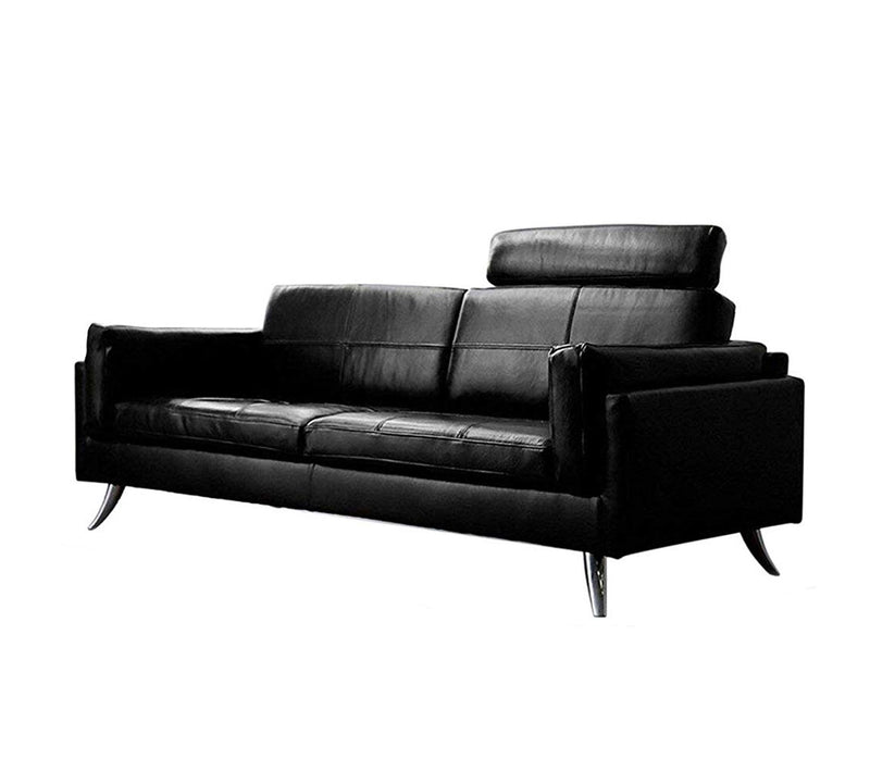 Fully Cushioned Leatherette Sofa with Wooden base