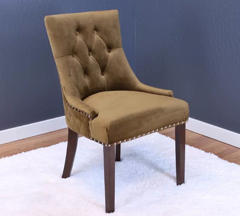 Dinning Chair with Velvet Upholstery and Wooden legs