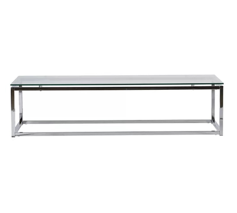 Center Table with stainless steel base and 12mm thick clear glass top