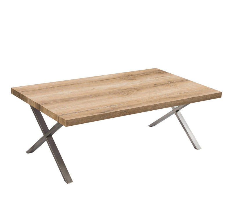 Center Table with stainless steel base and  25 mm thick particle board and pvc edge banding finish