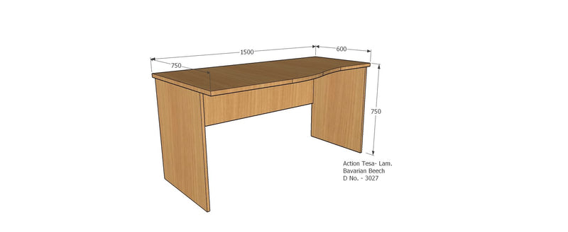 Computer Table with 18 mm thick modesty and wire manager