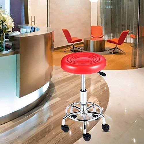 Leatherette doctor stool with metal frame and chrome finish