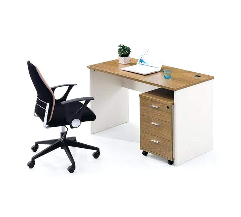 Office desk and study table  18 mm thick plb board modesty  and pvc wire manager  light brown