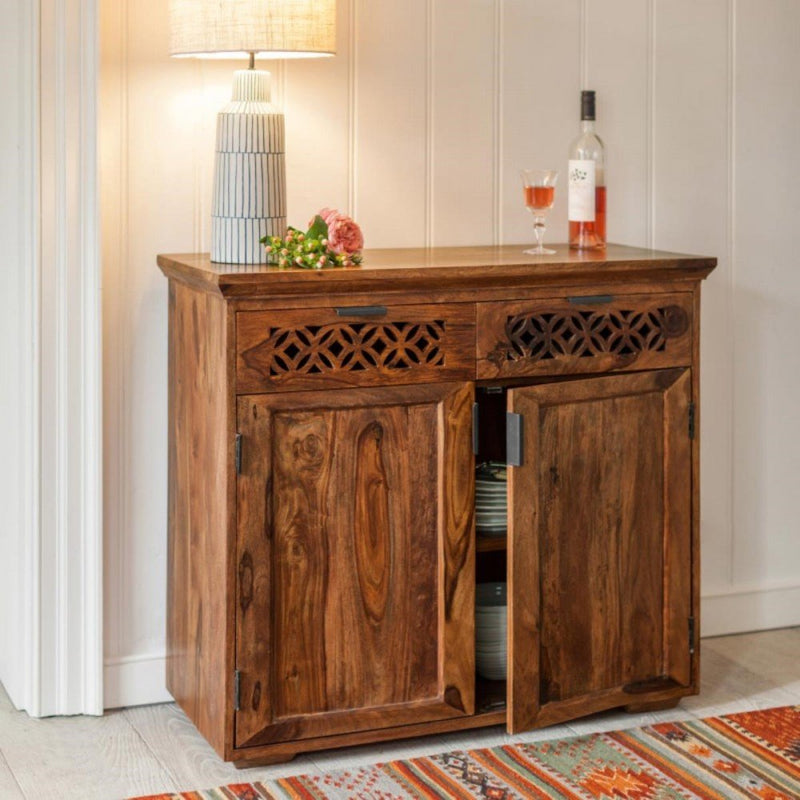 Wooden bar cabniet with wooden base