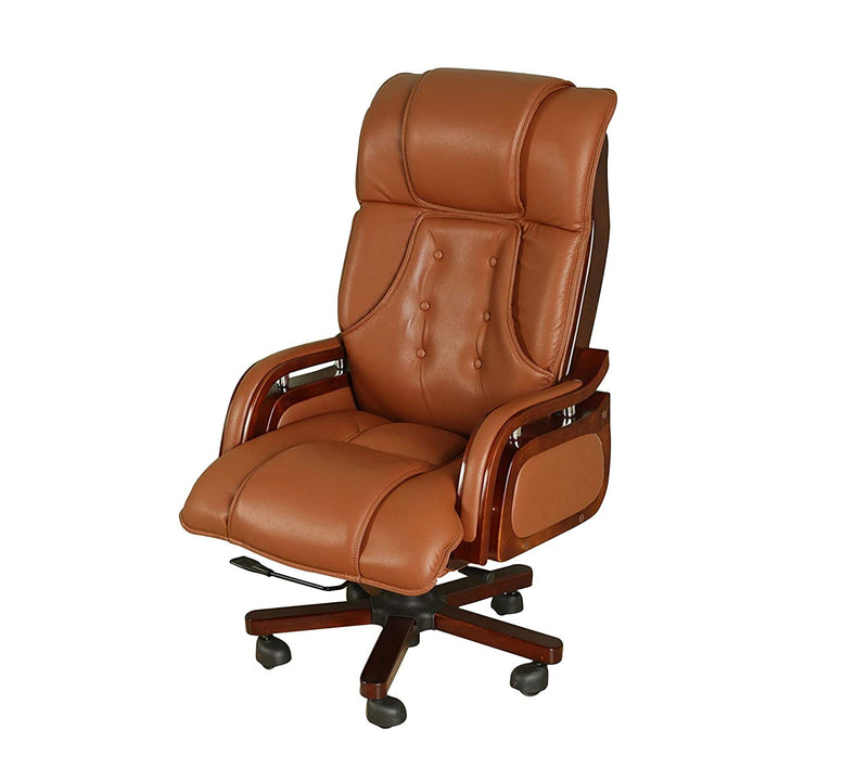 Office chair with wooden armrest base