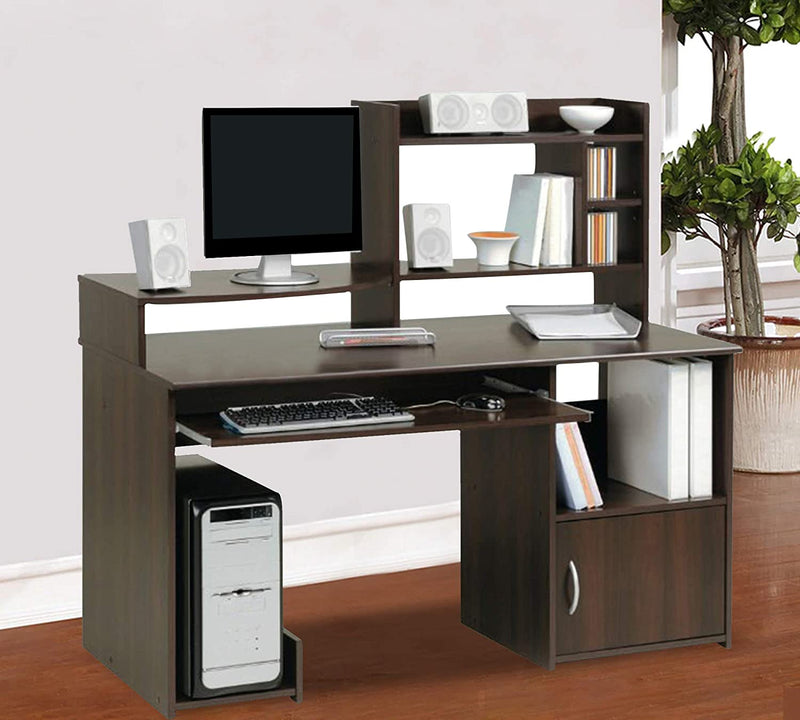 Office Desk and Study Table one side drawer with upper side open shelf and key board try with cpu trolley  DARK BROWN